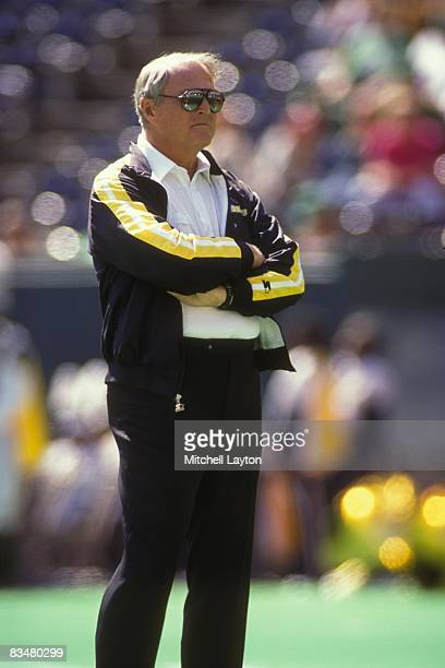 Chuck Noll head coach of the Pittsburgh Steelers before a NFL football game against the New England Patriots on November 15 1991 at Three Rivers...