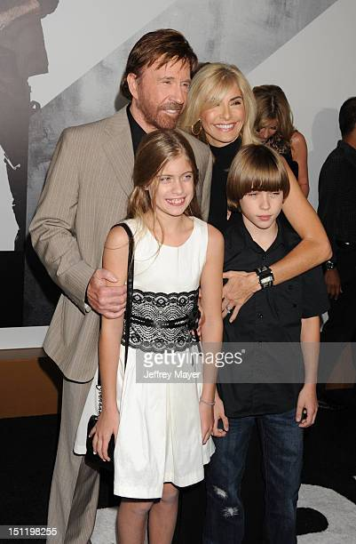 Chuck Norris and family arrive at The Expendables 2 Los Angeles premiere at Grauman's Chinese Theatre on August 15 2012 in Hollywood California