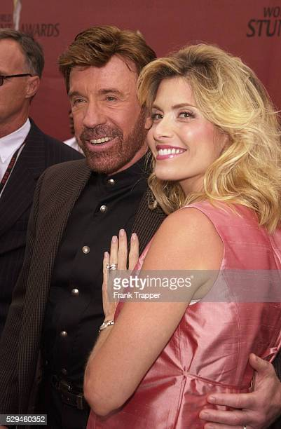 Chuck Norris with his wife Gena O'Kelley who is expecting twins at the World Stunt Awards 2001 honoring the men and women who risk their lives to put...