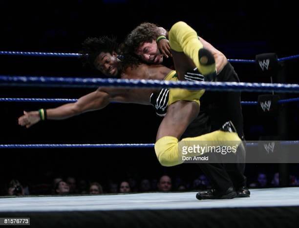 Chuck Palumbo takes on Kofi Kingston during the WWE Smackdown at Acer Arena June 15 2008 in Sydney Australia