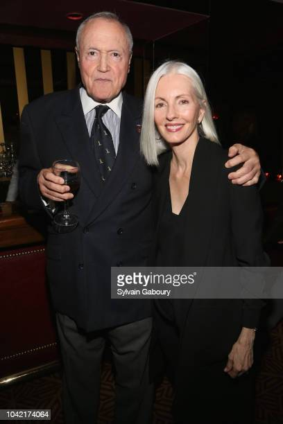 Chuck Pfeifer and Lisa Crosby attend David Patrick Columbia And Chris Meigher Toast The QUEST 400 At DOUBLES on September 27 2018 in New York City