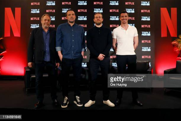 Chuck Roven Ben Affleck Charlie Hunnam and Garrett Hedlund attend the press conference for the Singapore premiere of 'Triple Frontier' at Marina Bay...
