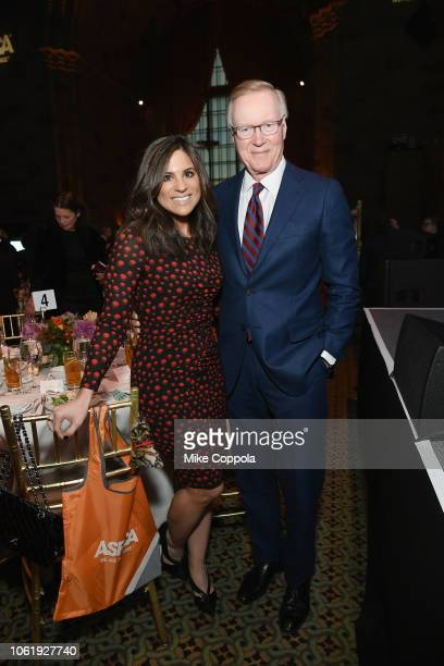 Chuck Scarborough and Natalie Pasquarella attend the ASPCA Hosts 2018 Humane Awards Luncheon at Cipriani 42nd Street on November 15 2018 in New York...