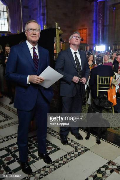 Chuck Scarborough Ian Polhemus and Public Service Award Honoree Bear attend the ASPCA Hosts 2018 Humane Awards Luncheon at Cipriani 42nd Street on...