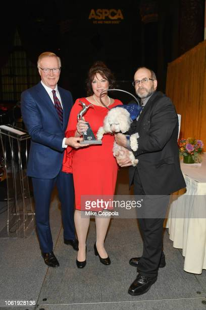 Chuck Scarborough Lisa Edge and Dog of the Year Noah attend the ASPCA Hosts 2018 Humane Awards Luncheon at Cipriani 42nd Street on November 15 2018...