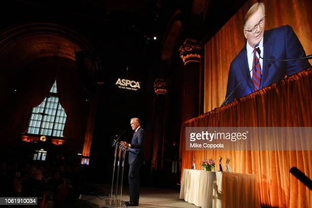 Chuck Scarborough speaks onstage at the ASPCA Hosts 2018 Humane Awards Luncheon at Cipriani 42nd Street on November 15 2018 in New York City