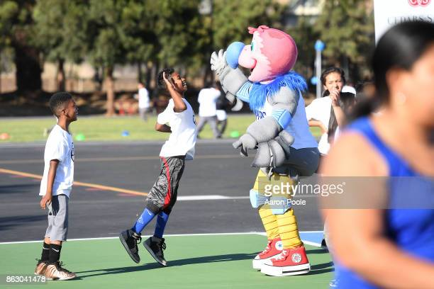 Chuck the Condor mascot of the LA Clippers is joined by CedarsSinai Community Director Jonathan Schreiber as they dedicate the newly renovated...
