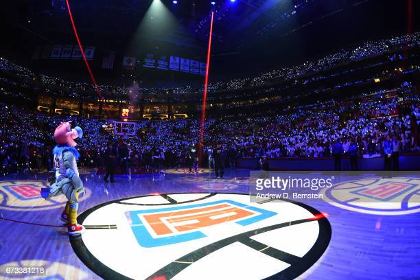 Chuck the Condor mascot of the LA Clippers stands on the cout before Game Five of the Western Conference Quarterfinals against the Utah Jazz of the...
