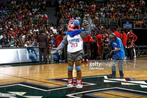 Chuck the Condor reacts during the preseason game against the Toronto Raptors on October 4. 2017 at the Stan Sheriff Center in Honolulu, Hawaii. NOTE...