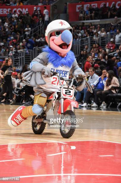 Chuck the Condor rides bike during halftime on the 2017 NBA PreSeason game against the Portland Trail Blazers on October 8 2017 at STAPLES Center in...