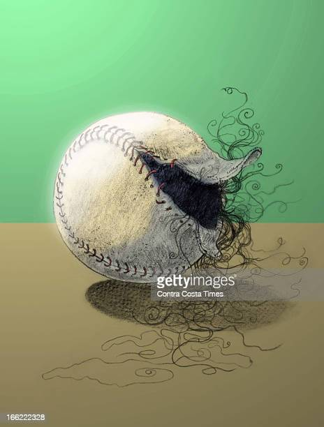 Chuck Todd color illustration of baseball with loose stiching and dark material exposed