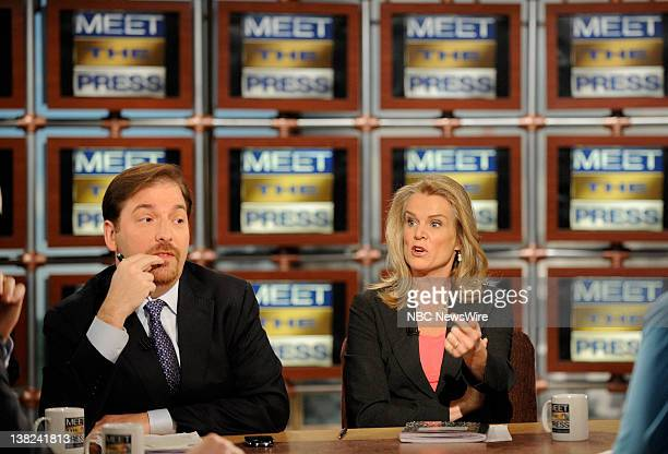 PRESS Chuck Todd NBC News and Katty Kay of BBC World News America talk on the set of Meet the Press Sunday January 24 2010 at the NBC studios in...