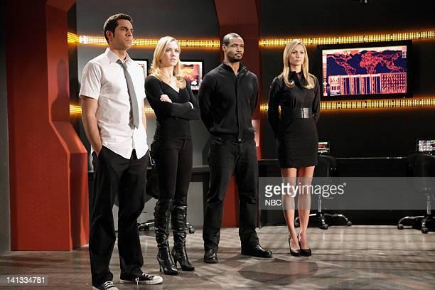 CHUCK 'Chuck vs the A Team' Episode 418 Pictured Zachary Levi as Chuck Bartowski Yvonne Strahovski as Sarah Walker Isaiah Mustafa as Greta/Captain...