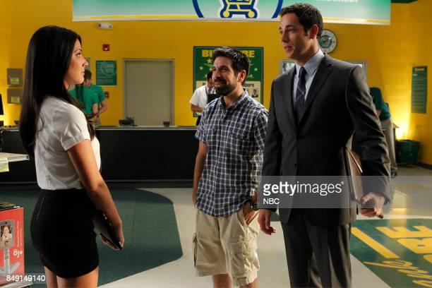 CHUCK Chuck vs the Anniversary Episode 401 Pictured Olivia Munn as Greta Joshua Gomez as Morgan Grimes Zachary Levi as Chuck Bartowski