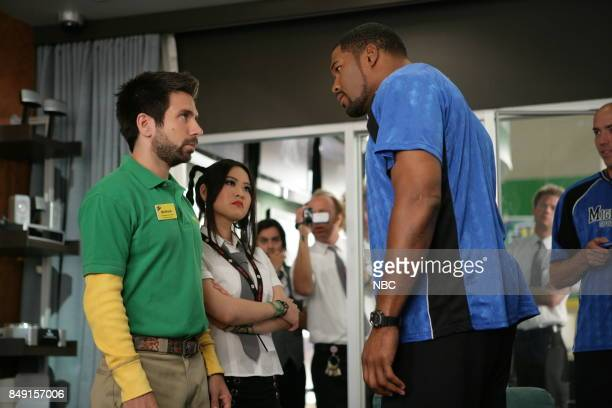CHUCK Chuck vs the Breakup Episode 203 Pictured Joshua Gomez as Morgan Grimes Julia Ling as Anna Wu Michael Strahan as Mitt