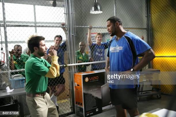 CHUCK Chuck vs the Breakup Episode 203 Pictured Joshua Gomez as Morgan Grimes Michael Strahan as Mitt
