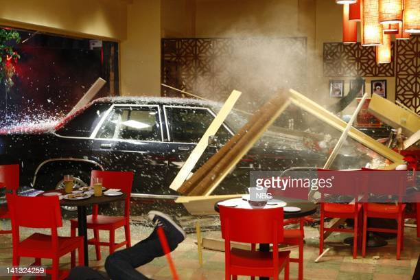 CHUCK 'Chuck vs the First Date' Episode 1 Air Date Pictured Car crashing into restaurant Photo by Trae Patton/NBCU Photo Bank
