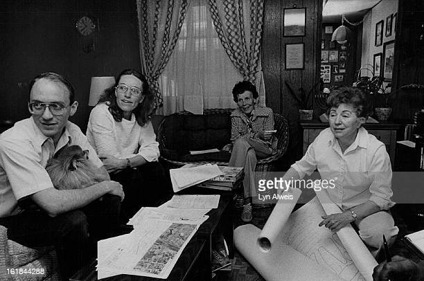 APR 06 1981 APR 13 1981 Chuck Wallace joined by wife Jean Mrs Robert Dade Lorraine Phillips to discuss fight on widening Santa Fe