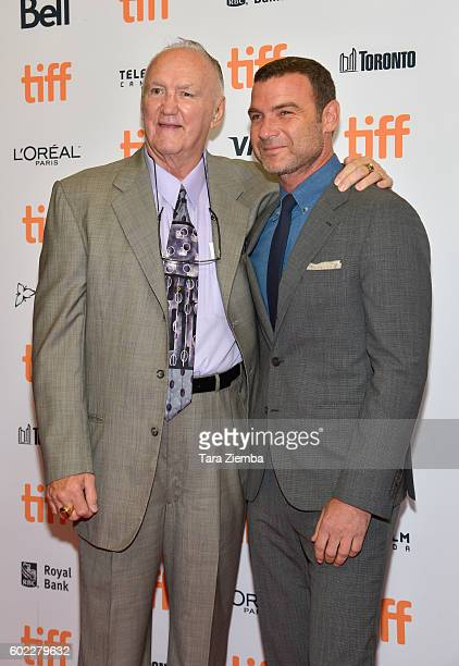 Chuck Wepner and actor Liev Schreiber attend 'The Bleeder' premiere during the 2016 Toronto International Film Festival at Princess of Wales Theatre...