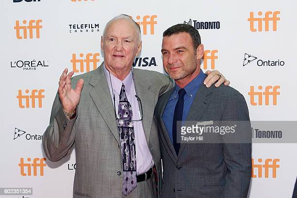 Chuck Wepner and Liev Schreiber attend 'The Bleeder' premiere during the 2016 Toronto International Film Festival at Princess of Wales Theatre on...