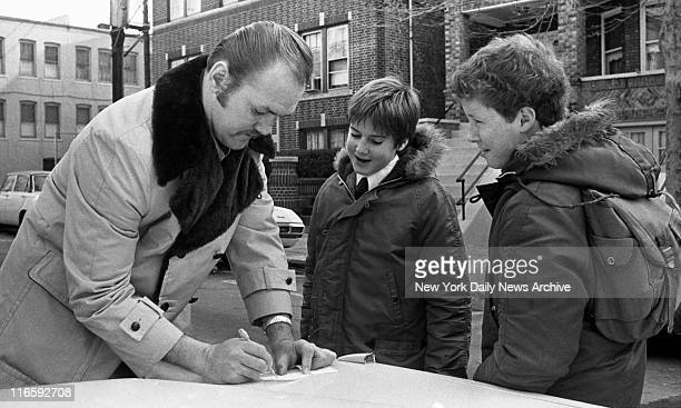 Chuck Wepner signs autographs for schoolkids outside his house in Bayonne New Jersey Frank Hurley/NY Daily News via Getty Images