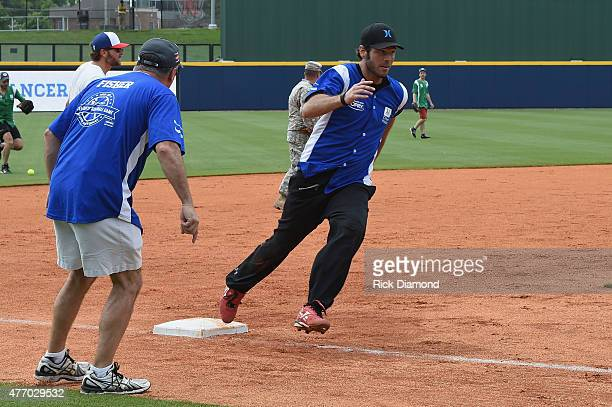 Chuck Wicks showed off his softball skills for charity at City of Hopes's 25th Annual Celebrity Softball Game at the new First Tennessee Park during...