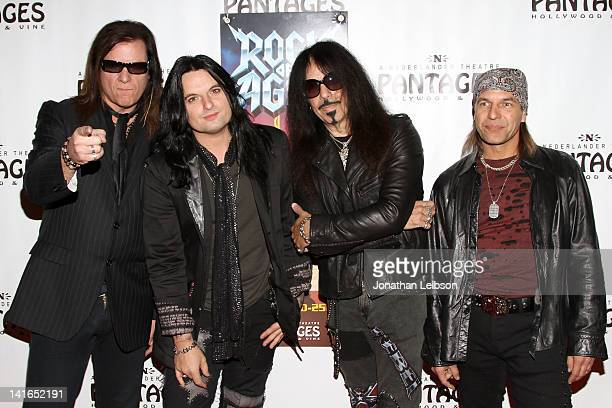"""Chuck Wright, Alex Grossi, Frankie Banali and Scott Vokoun arrive to the """"Rock Of Ages"""" - Los Angeles Opening Night at the Pantages Theatre on March..."""