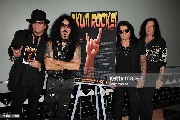 Chuck Wright Frankie Banali Alex Grossi and Jizzy Pearl of Quiet Riot arrive at 'Skum Rocks' documentary screening at Colony Theater on March 5 2015...