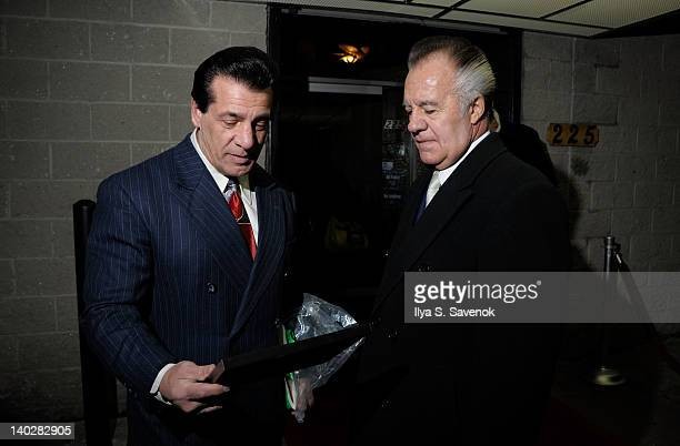Chuck Zito and Tony Sirico attend Chuck Zito's birthday party during Jaguars 3 opening night on March 1 2012 in the Brooklyn borough of New York City