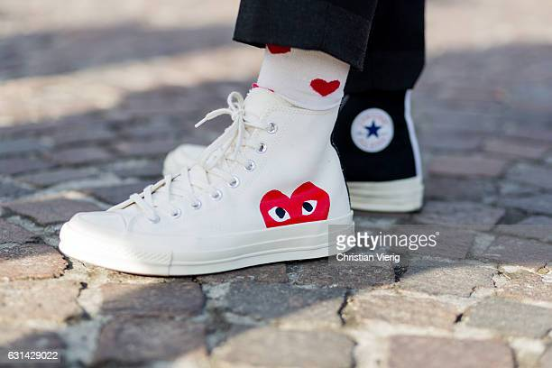 Chucks with heart print on January 10 2017 in Florence Italy