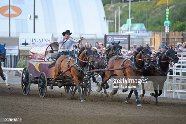 Chuckwagon driver Kurt Bensmiller of Dewberry AB wins the GMC Rangeland Derby with this run at the Calgary Stampede on July 15 2018 at Stampede Park...