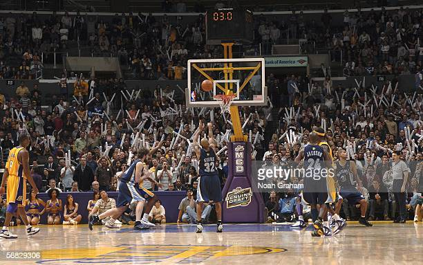 Chucky Atkins of the Memphis Grizzlies makes a free throw for the final point for the win against the Los Angeles Lakers on February 11 2006 at...