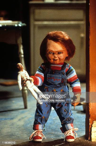 Chucky with doll in a scene from the film 'Child's Play' 1988
