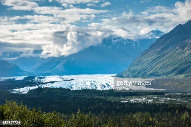 Chugach mountain range and the Matanuska glacier from the Glenn Highway National Scenic Byway in Alaska.