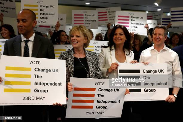 Chuka Umunna Anna Soubry Heidi Allen and Chris Leslie Independent MP's of the new proEU political party Change UK pose during the launch of their...
