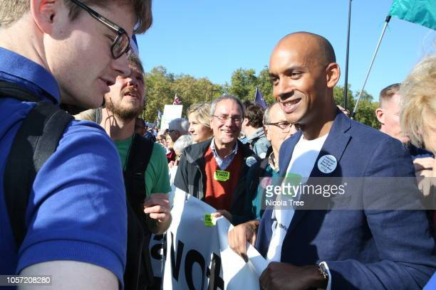 Chuka Umunna Labour MP for Streatham attends on October 20 2018 in London England Hundreds of thousands of people march from Park Lane to Parliament...