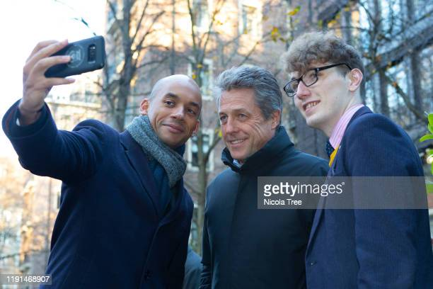 Chuka Umunna Liberal Democrat candidate for Cities of London and Westminster campaigns in his constituency with Hugh Grant English actor and film...