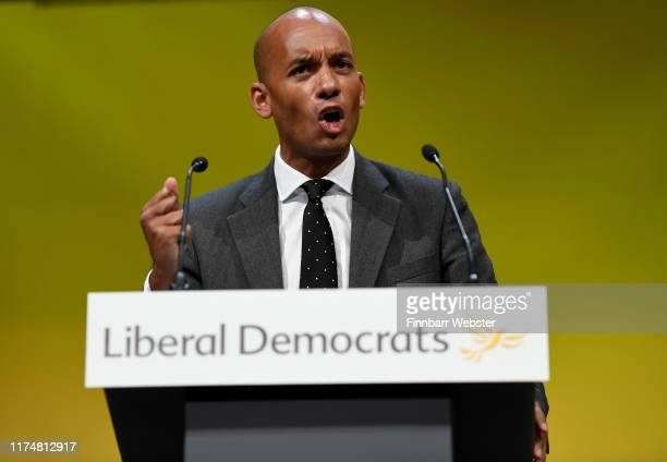 Chuka Umunna MP speaks before the vote to rescind article 50 at the Liberal Democrat Party Conference at the Bournemouth International Centre on...