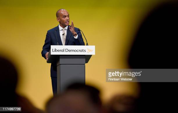 Chuka Umunna speaks at the Liberal Democrat Conference at the Bournemouth International Centre on September 16 2019 in Bournemouth England