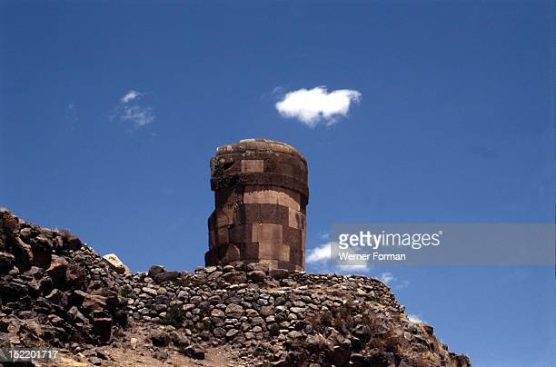 Chullpa or burial tower at Sillustani built by the Aymara-speaking Colla tribe, Peru. Aymara. 14th -15th circa north shore of Lake Titicaca, Peru.