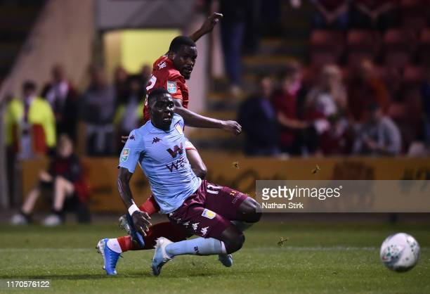 Chuma Anene of Crewe Alexandra shoots towards goal during the Carabao Cup Second Round match between Crewe Alexandra and Aston Villa at Gresty Road...