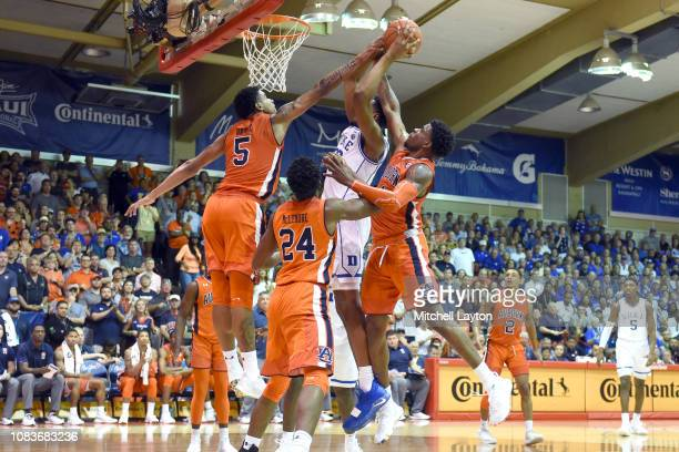 Chuma Okeke of the Auburn Tigers blocks a shot during a second round game of Maui Invitational college basketball game against the Duke Blue Devils...