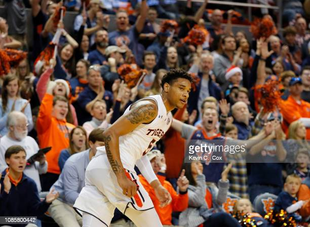 Chuma Okeke of the Auburn Tigers reacts after hitting a threepoint basket against the Murray State Racers at Auburn Arena on December 22 2018 in...