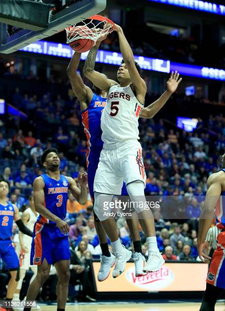 Chuma Okeke of the Auburn Tigers shoots the ball against the Florida Gators during the semifinals of the SEC Basketball Tournament at Bridgestone...