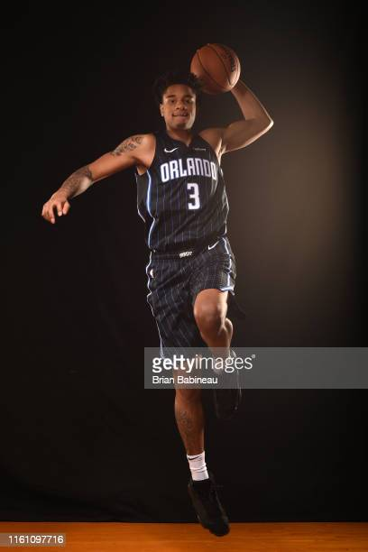 Chuma Okeke of the Orlando Magic poses for a portrait during the 2019 NBA Rookie Photo Shoot on August 11 2019 at the Fairleigh Dickinson University...