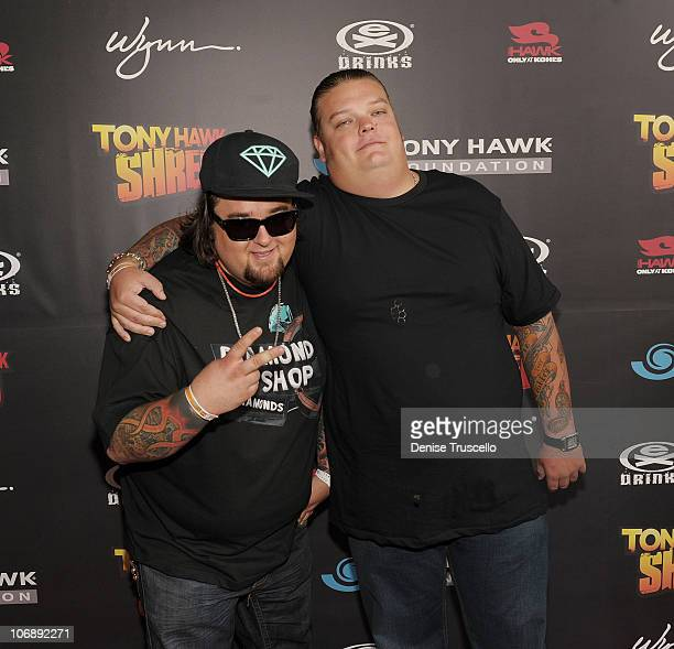 Chumlee and Corey Harrison arrive at the Tony Hawk Shred benefit at The Wynn Hotel And Casino Resort on November 6 2010 in Las Vegas Nevada