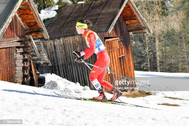 Chumxue Chi of China during the Women's Cross Country Skiathlon at the FIS Nordic World Ski Championships at Langlauf Arena Seefeld on February 23,...
