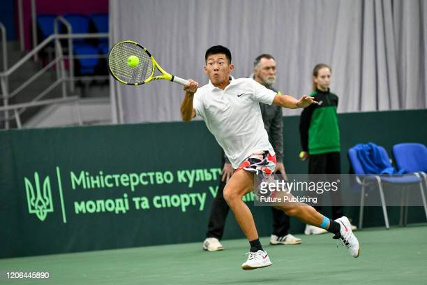 Chun Hsin Tseng of Chinese Taipei is seen in action during a match against lllya Marchenko of Ukraine during the Davis Cup World Group I First Round...