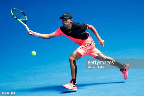 Chun Hsin Tseng of Chinese Taipei plays a forehand in his Junior Boys' Singles Final against Sebastian Korda of the United States during the...