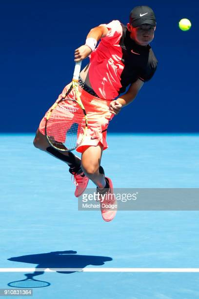 Chun Hsin Tseng of Chinese Taipei plays a forehand smash in his Junior Boys' Singles Final against Sebastian Korda of the United States during the...